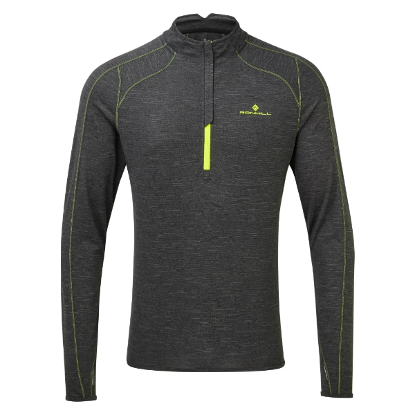 Baselayer Herre – Ronhill Stride Termal LS Zip – Charcoal Marl/Gul