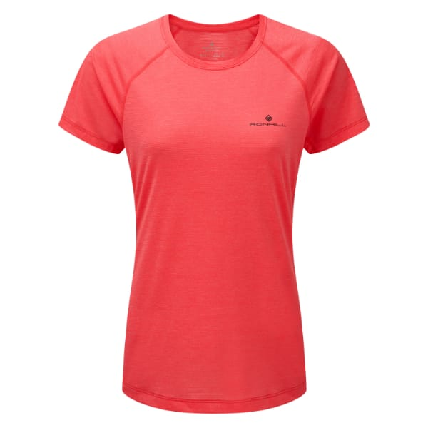 T-skjorte Dame – Ronhill Momentum – Hot Pink Marl/Charc