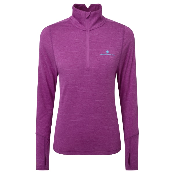 Baselayer – Ronhill Stride Termal LS Zip Dame – Aquamint